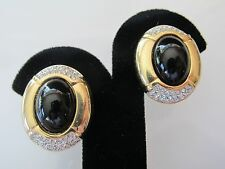 Vintage SAL Swarovski Elegant Pave Crystal and Black Cab Button Earrings