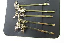 4 x Bronze Hair Clips Grips Set Slides Bobby Pins Vintage Leaf Swallow Bird 7AF
