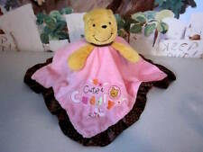 DISNEY BaBy WiNNiE THe POOH CUTE & CUDDLY PiNK BRoWN PLuSH SeCuRiTy BLaNKeT