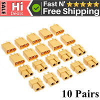 New 10 Pairs XT60 Male Female Bullet Connectors Plugs For RC Battery T4E0