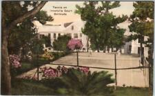 PAGET, BERMUDA   Handcolored TENNIS on INVERURIE COURT  1964 Albertype Postcard*