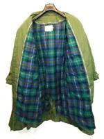 Vintage Cabela's L Green Down Over Coat Belted Trench Zip In Quilted Plaid Liner