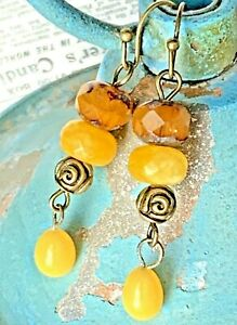 Etched Bronze Flower, Apricot and Yellow Sunflower Dangle Earrings. Boho Chic