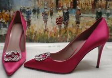 Gucci GG Crystal Satin Point-Toe Pumps - Size 38.5 - $750