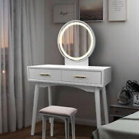 Vanity Table Set with Lighted LED Touch Screen Dimming Round Mirror
