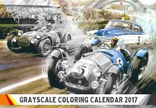 "Coloring Calendar 2017 (12 pages 8""x11"") Classic Car Gran Prix Races FLONZ 1004"