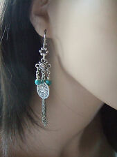 FAB TURQUOISE, COIN & TASSEL INTERCHANGEABLE CHARM EARRINGS