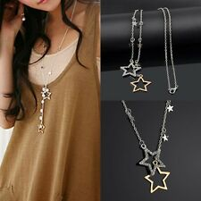 Cute Fashion Womens Crystal Rhinestone Stars Pendant Long Chain Necklace Gift HL