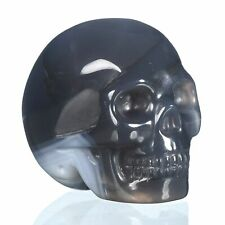 """1.89""""Natural Agate Carved Skull Metaphysic Healing Power #32H57"""