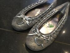 Juicy Couture New Silver Leather Party Shoes Pumps Girls Size 12 (EU 31 US 13)