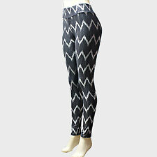 Black and Silver Metallic Chevron Printed Leggings S/M