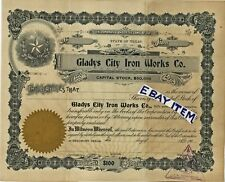 1902 GLADYS CITY IRON WORKS Beaumont Texas SPECIMEN STOCK CERTIFICATE Spindletop
