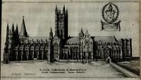 Canterbury Cathedral Southern facade England 1655 antique Hollar engraved print