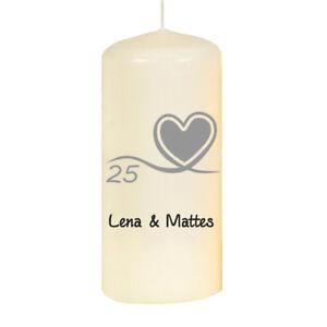 Kerze 13 cm Silberhochzeit mit Namen
