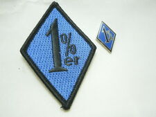 Outlaw Biker Black and Blue 1%er One Percenter Patch and Pin Combo
