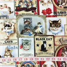 RPFFT105A Victorian Kitty Cat Kitten Advertising Portrait Cotton Quilt Fabric