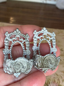 Vintage Miniature Dollhouse Ornate Pair German Soft Metal Wall Urns for Painting