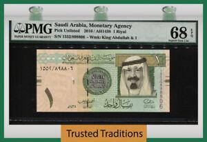 TT PK UNL 2016 SAUDI ARABIA 1 RIYAL KING ABDULLAH PMG 68 EPQ SUPERB GEM UNC!