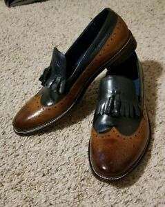 Brown leather loafers Burgundy fashion purple vintage Made in Italy retro shoes small size 46 Mario Moretti