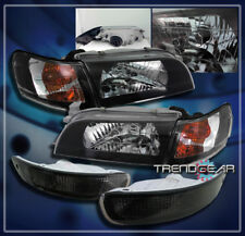1993-1997 TOYOTA COROLLA CRYSTAL HEAD LIGHTS+CORNER+BUMPER BLACK 1994 1995 1996