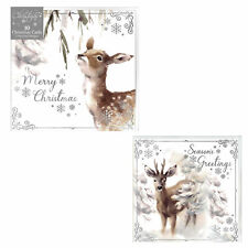 Pack of 10 Christmas Cards with Foil Detail - Deer Design