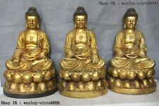 25 Tibet Bronze Three Seat Shakyamuni Sakyamuni Amitabha tathagata Buddha Statue