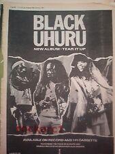BLACK UHURU Tear It Up 1982 UK Poster size Press ADVERT 16x12 inches