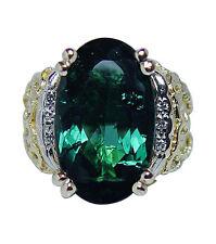 Vintage 7ct Indicolite Blue Grn Tourmaline Diamond 18K Gold Ring Heavy Estate