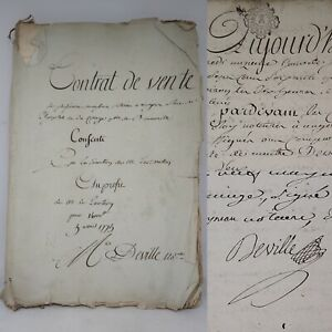 French Contract of Sale for A. Deville April 3rd 1775 ~ Manuscript ~ Signed