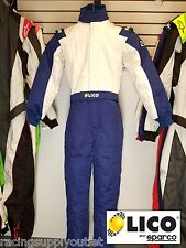 Sparco/Lico Racing Suit Blue/White  Size XX-Small 48  SFI and FIA Rated     New
