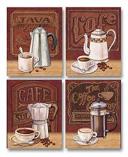 "NEW Set of 4 Classic Coffee House Percolator Art Prints Java Café Décor 8""x10"""