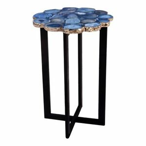 "21"" T Set of 2 Blue Agate Accent Table One of a Kind Agate Stones Modern Steel"