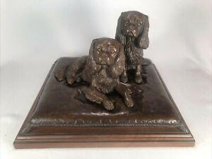 TONY ACEVEDO LT ED COLD CAST BRONZE OF 2 CAVALIER KING CHARLES SPANIEL DOGS