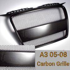 For 05-08 A3 8P metal mesh Real Black Carbon Fiber Front Bumper nose Grille