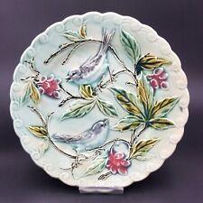 Assiette à Dessert Faïence Barbotine décor d'Oiseaux dans la Vigne 1900 (2)