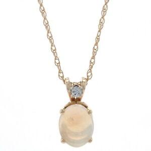 "Yellow Gold Opal & Diamond Pendant Necklace 22 1/2"" - 14k Oval Cabochon .74ctw"
