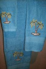 Palm Trees Ocean Personalized 3 Piece Bath Towel Set Color Choice