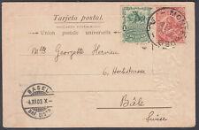 Uraguay PPC; 1c+2c Montevideo CDS to Basel (Receiver), Switzerland; 1903