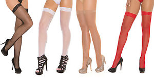 Fishnet Thigh Highs Lace Top Hi Nylons Hosiery Stockings Costume 1775