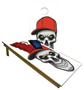 Skull with Hat CORNHOLE BEANBAG TOSS GAME w Bags Game Board White Set