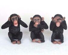 "3 Wise Monkeys Hear Speak See No Evil Detailed Figurine Miniature 4""H New in Box"