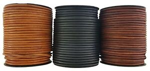 Light brown Black & Brown 4 mm Round Leather Cord 2,3,4.5.10,Metre Lengths