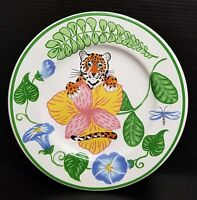 """Lynn Chase JUNGLE FLOWERS Salad Plate 7"""" - Tiger in Bushes"""