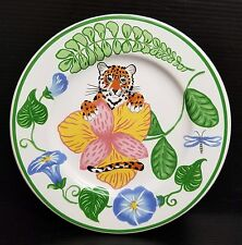 "Lynn Chase JUNGLE FLOWERS Salad Plate 7"" - Tiger in Bushes"