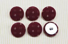 6 Embroidery Pattern Fabric Covered Buttons - Wine (30mm)