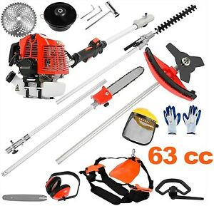 63cc 2-Stroke 5 in 1 Gas Brush Cutter Weed Eater + Safety Kit