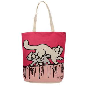 Simon's Cat Rose Coton Sac Réutilisable Shopping Transporteur Imprimé Fun Cadeau
