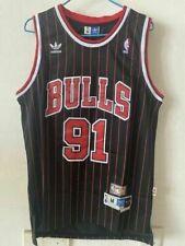 Black/Stripe Chicago Bulls Dennis Rodman # 91 Retro Swingman Basketball Jersey #