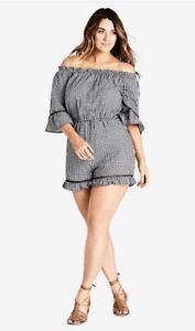 CITY CHIC BNWT B/W Check Corsica Playsuit 3/4 Sleeves Size M /18 RRP $89.95