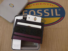 FOSSIL Card Holder Charcoal BOND Leather & Textile C/Card Wallet Gift Tin RRP£25